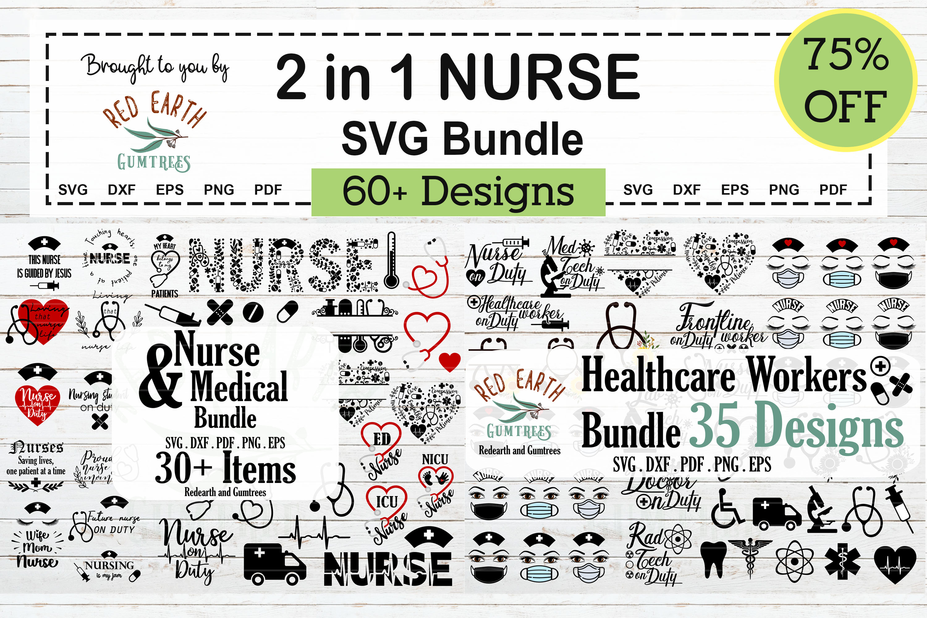 Download Free 2 In 1 Nurse And Healthcare Workers Svg Graphic By Redearth And for Cricut Explore, Silhouette and other cutting machines.