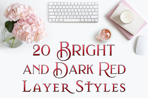 20 Bright and Dark Red Layer Styles Graphic