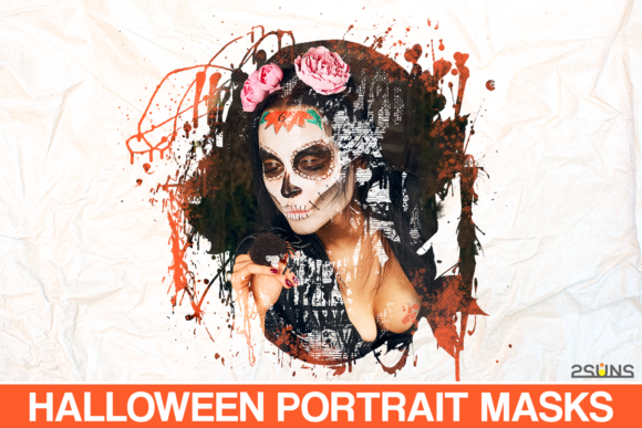 20 Watercolor Portrait Masks Halloween Graphic Actions & Presets By 2SUNS