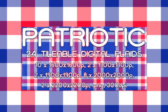 24 Patriotic Tileable Digital Plaids Graphic Patterns By vessto