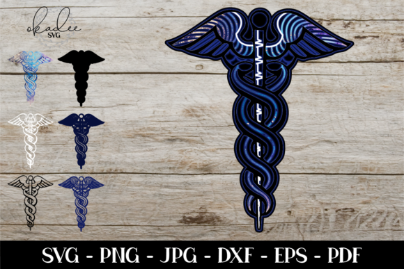 3D Layered Caduceus, Mandala Graphic 3D SVG By okadee.svg