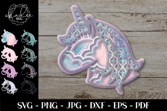 3D Unicorn Mandala, Layered Unicorn Graphic 3D SVG By okadee.svg