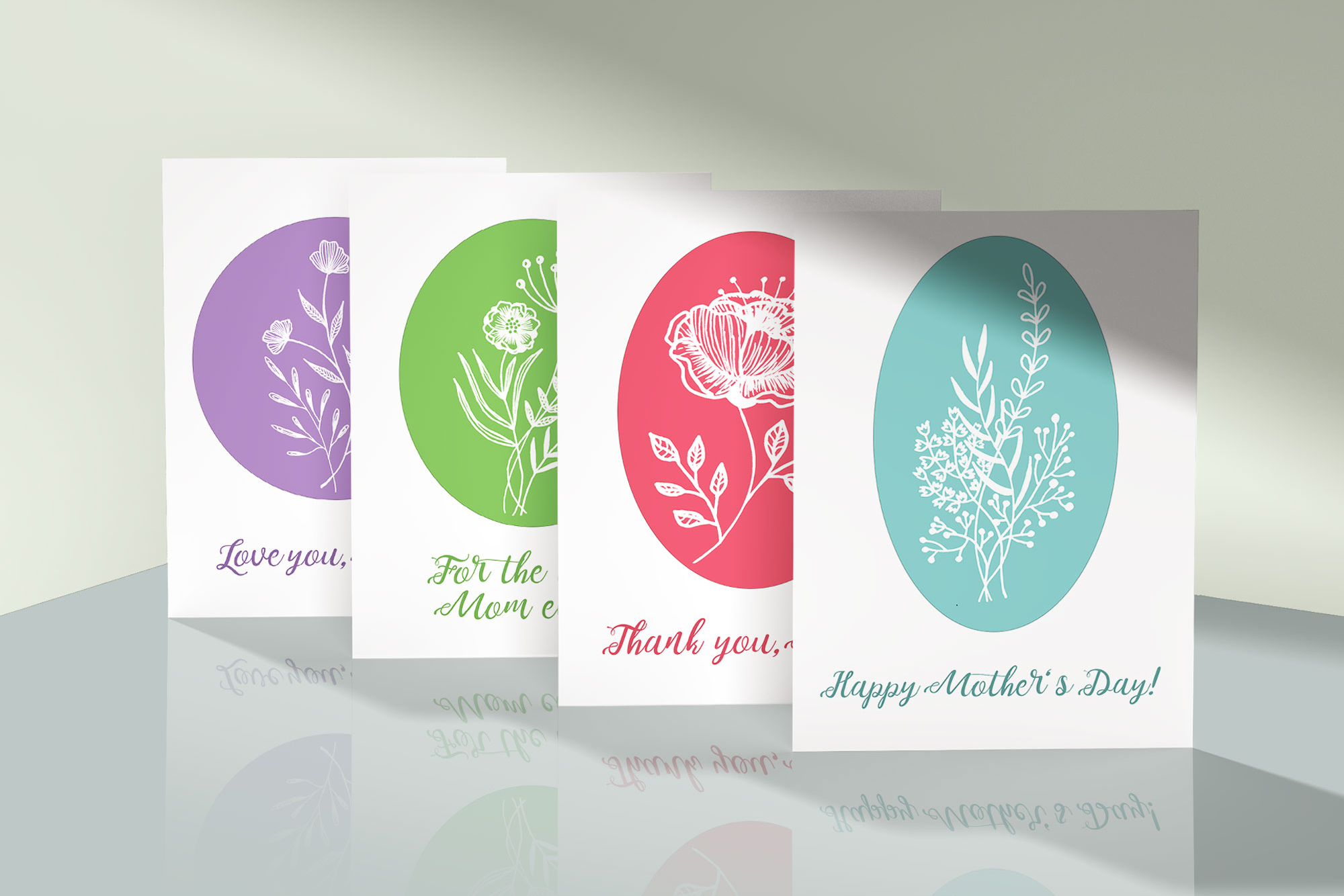 4 Mother S Day Cards With Flowers Graphic By Reddotshouse