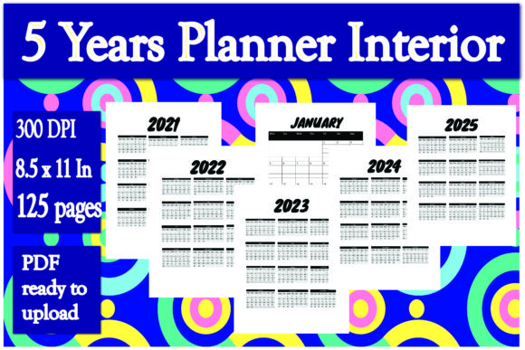 Print on Demand: 5 Years Planner Interior Graphic KDP Interiors By Ivana Prue