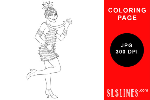 Download Free A Pretty Flapper Girl 1920s Coloring Graphic By Sls Lines for Cricut Explore, Silhouette and other cutting machines.