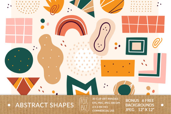 Print on Demand: Abstract Shapes Clipart. Digital Prints. Graphic Objects By FoxBiz