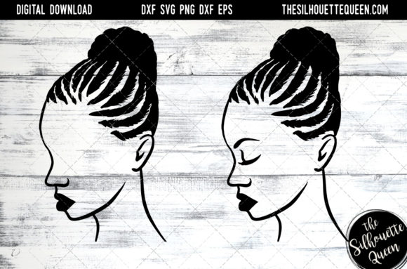 Download Free Afro Hair Braided Bun Graphic By Thesilhouettequeenshop for Cricut Explore, Silhouette and other cutting machines.
