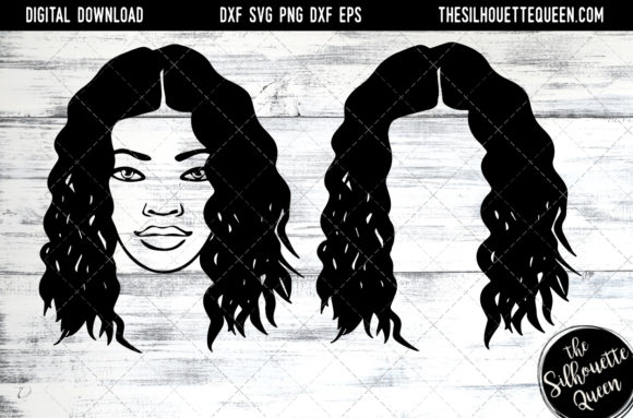 Afro Hair - Kinky Curly Natural Black Graphic Crafts By thesilhouettequeenshop