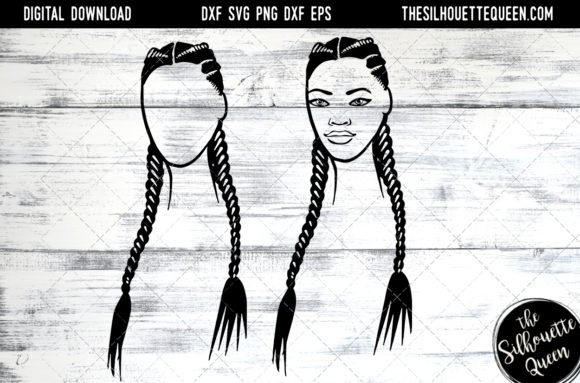 Download Free Afro Hair Long 2 Braids Graphic By Thesilhouettequeenshop for Cricut Explore, Silhouette and other cutting machines.