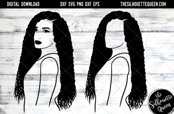 Download Free Afro Hair Long Curl Hair Graphic By Thesilhouettequeenshop for Cricut Explore, Silhouette and other cutting machines.