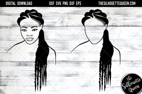 Afro Hair - Natural Long Braids Graphic Crafts By thesilhouettequeenshop