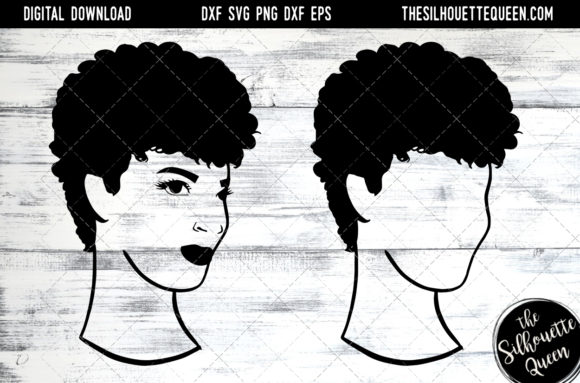 Afro Hair - Natural Short Kinky Curls Graphic Crafts By thesilhouettequeenshop
