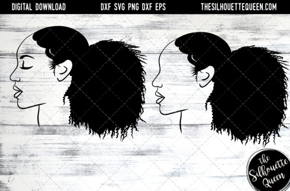 Afro Hair - Natutral Curly Ponytail Graphic Crafts By thesilhouettequeenshop