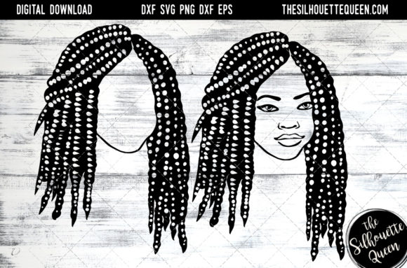 Afro Hair - Short Bob Box Braids Graphic Crafts By thesilhouettequeenshop