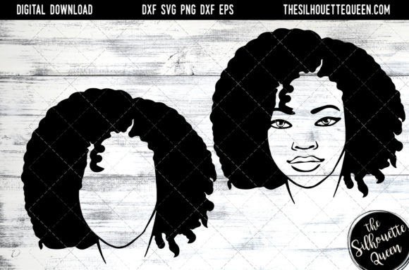 Afro Hair - Short Kinky Curls Graphic Crafts By thesilhouettequeenshop