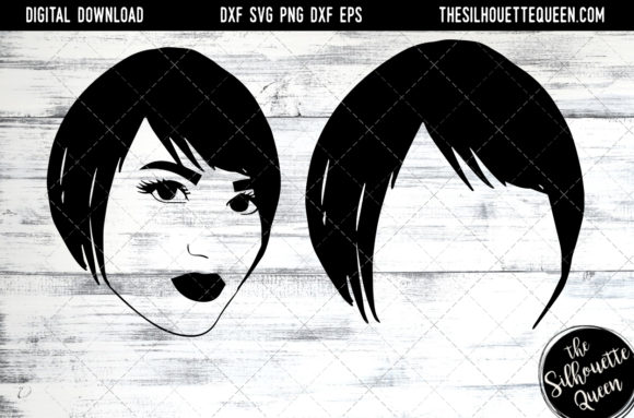 Download Free Afro Hair Short Side Swept Pixie Graphic By for Cricut Explore, Silhouette and other cutting machines.