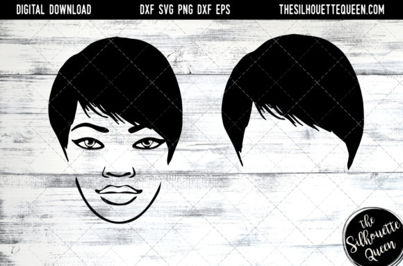 Afro Hair - Short Side Swept Pixie Graphic Crafts By thesilhouettequeenshop