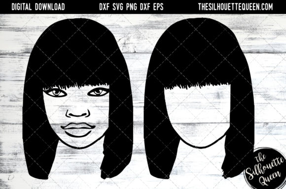 Download Free Afro Hair Straight Bob Full Bangs Graphic By for Cricut Explore, Silhouette and other cutting machines.
