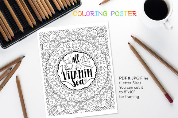 All I Need is Vitamin Sea - Coloring Art Graphic Coloring Pages & Books Adults By danieladoychinovashop