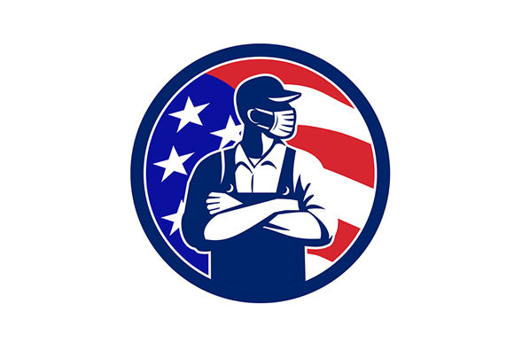 Download Free American Supermarket Worker Wearing Mask Graphic By Patrimonio for Cricut Explore, Silhouette and other cutting machines.