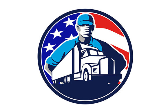 Download Free American Truck Driver Wearing Mask Usa Flag Graphic By for Cricut Explore, Silhouette and other cutting machines.