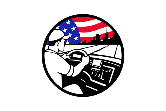 Download Free American Trucker Driving Highway Usa Flag Graphic By Patrimonio for Cricut Explore, Silhouette and other cutting machines.