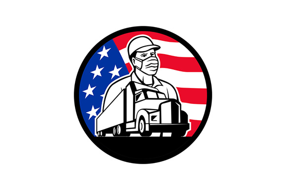 Download Free American Trucker Wearing Mask Usa Flag Graphic By Patrimonio for Cricut Explore, Silhouette and other cutting machines.