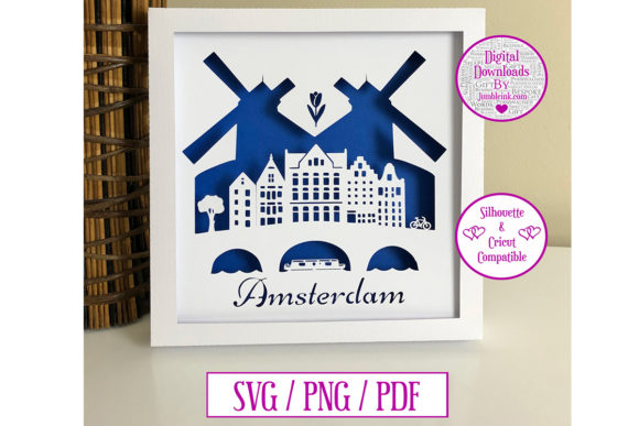 Download Free Amsterdam Paper Cut Digital Download Graphic By Jumbleink Digital Downloads Creative Fabrica for Cricut Explore, Silhouette and other cutting machines.