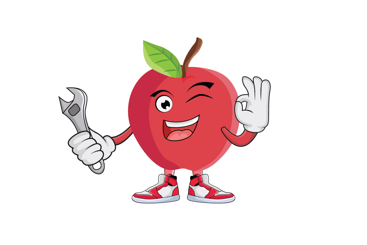 Download Free Apple Fruit Cartoon Character Design Graphic By Printablesplazza for Cricut Explore, Silhouette and other cutting machines.