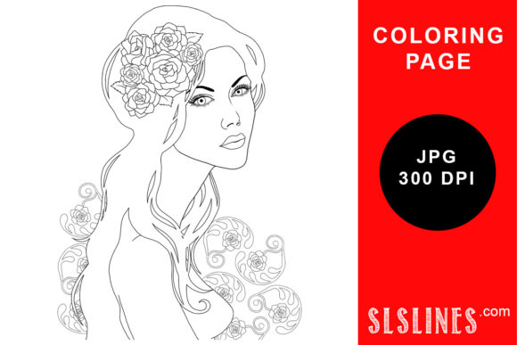 Print on Demand: Art Nouveau Girl Coloring Page Graphic Coloring Pages & Books Adults By SLS Lines