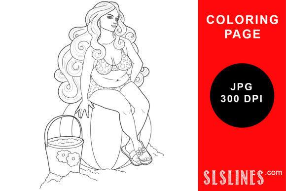 Beach Babe On Beach Ball Coloring Page (Graphic) By SLS Lines · Creative  Fabrica