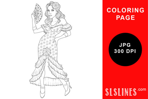 Beautiful Flamemco Dancer Coloring Page Graphic Coloring Pages & Books Adults By SLS Lines