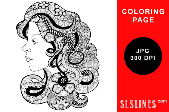 Download Free Big Hair Coloring Page Graphic By Sls Lines Creative Fabrica for Cricut Explore, Silhouette and other cutting machines.