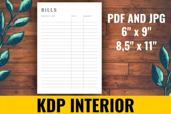 Print on Demand: Bills Tracker KDP Interior Graphic KDP Interiors By atlasart