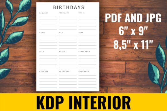 Print on Demand: Birthday Reminder KDP Interior Graphic KDP Interiors By atlasart - Image 1