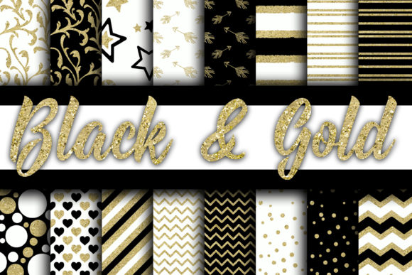 Print on Demand: Black and Gold Digital Paper Graphic Backgrounds By oldmarketdesigns