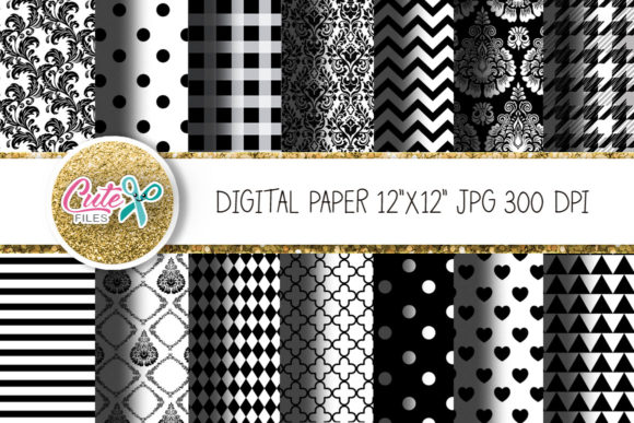 Download Free Black And White Digital Papers Graphic By Cute Files Creative SVG Cut Files