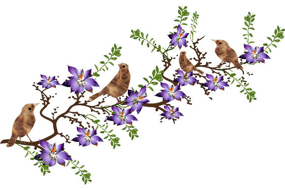 Download Free Brown Birds On A Floral Branch Graphic By Arts4busykids for Cricut Explore, Silhouette and other cutting machines.