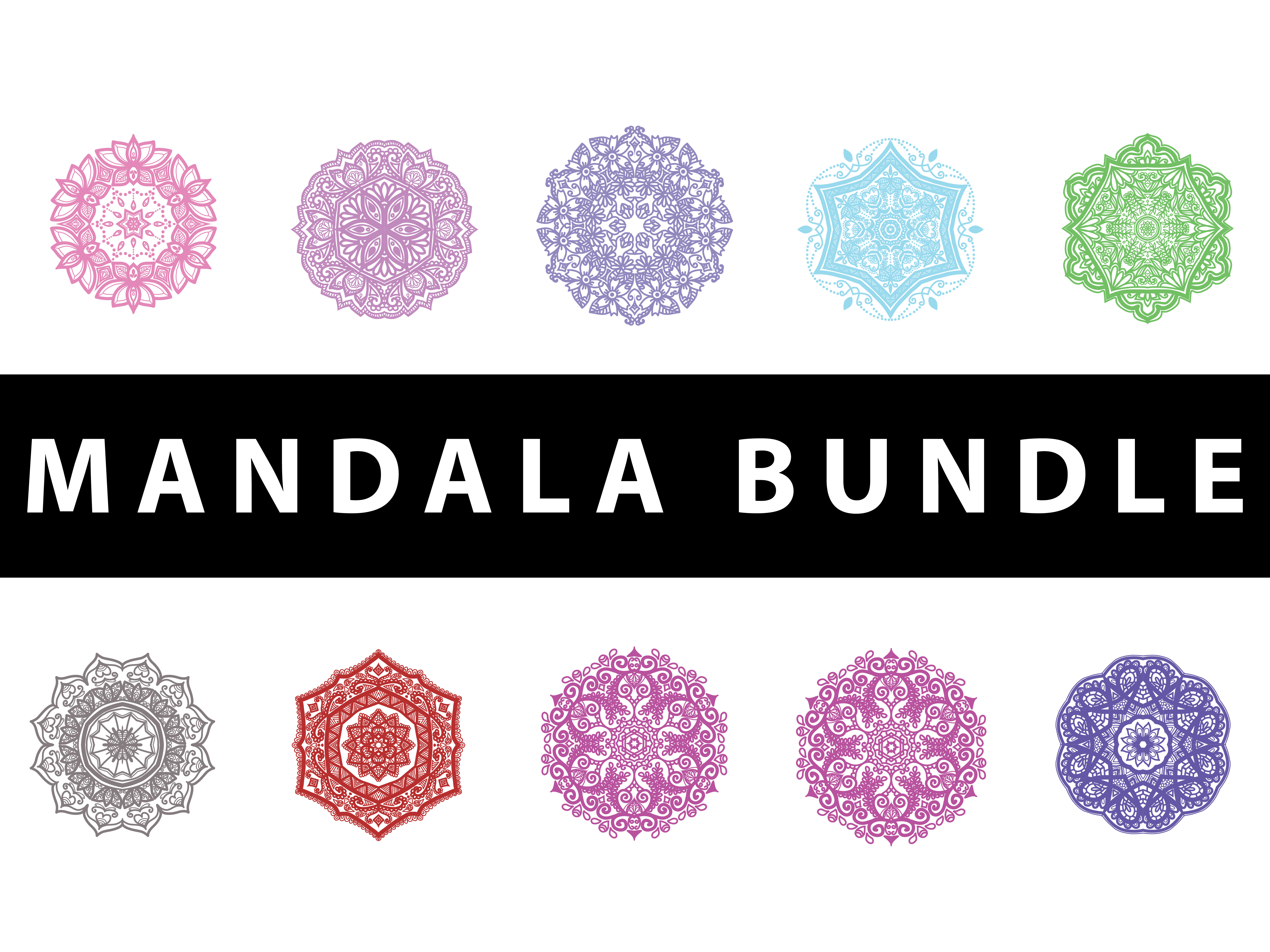Download Free Bundle 10 Mandala Pattern Design Graphic By Redsugardesign for Cricut Explore, Silhouette and other cutting machines.
