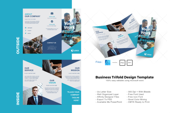 Powerpoint Brochure Template Tri Fold from www.creativefabrica.com
