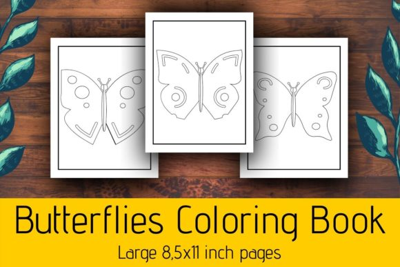 Download Free Butterflies Coloring Book For Kids Kdp Graphic By Atlasart for Cricut Explore, Silhouette and other cutting machines.