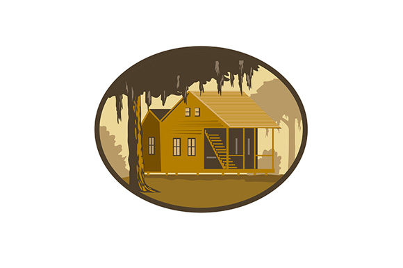 Download Free Cajun House And Tree Oval Wpa Retro Graphic By Patrimonio for Cricut Explore, Silhouette and other cutting machines.