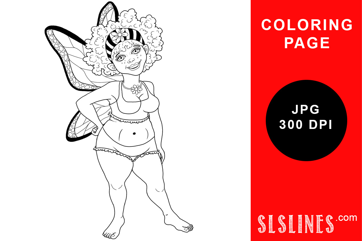 Download Free Chubby Spring Fairy Coloring Page Grafico Por Sls Lines for Cricut Explore, Silhouette and other cutting machines.