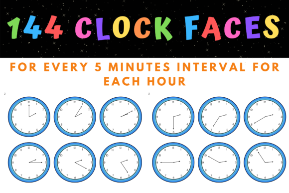 Clock Faces 5 Mins Intervals and Hours Graphic Teaching Materials By maria_galea_