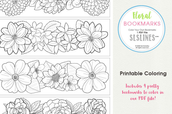 Download Free Color Your Own Floral Bookmarks Graphic By Sls Lines Creative for Cricut Explore, Silhouette and other cutting machines.