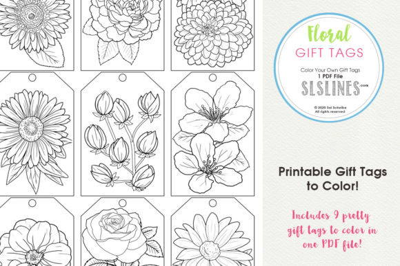 Print on Demand: Color Your Own Flower Gift Tags Graphic Coloring Pages & Books Adults By SLS Lines