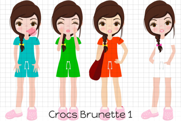 Print on Demand: Crocks Brunette 1 Graphic Illustrations By Dolls To Go