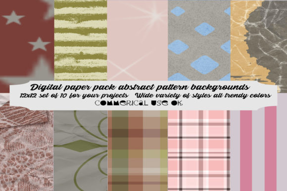 Download Free Digital Paper Pack Abstract Patterns Graphic By A Design In Time Creative Fabrica for Cricut Explore, Silhouette and other cutting machines.