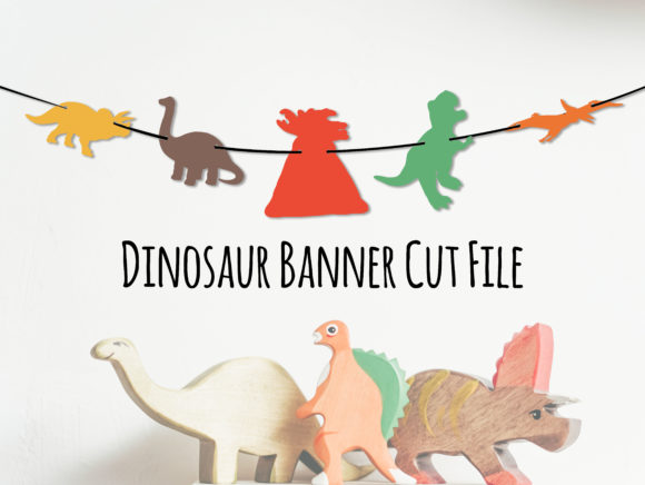 Download Free Dinosaur Banner Party Decor Cricut Graphic By Somefinnsvgs for Cricut Explore, Silhouette and other cutting machines.