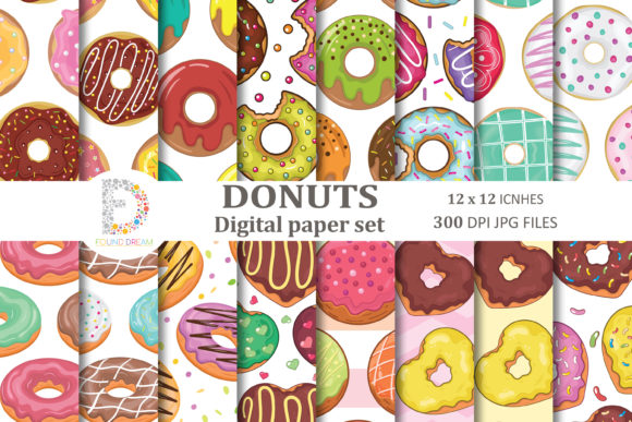 Print on Demand: Donuts Digital Papers Graphic Patterns By FounDream